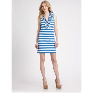 Kate Spade Lucille Knit Blue Striped Ruffle Dress
